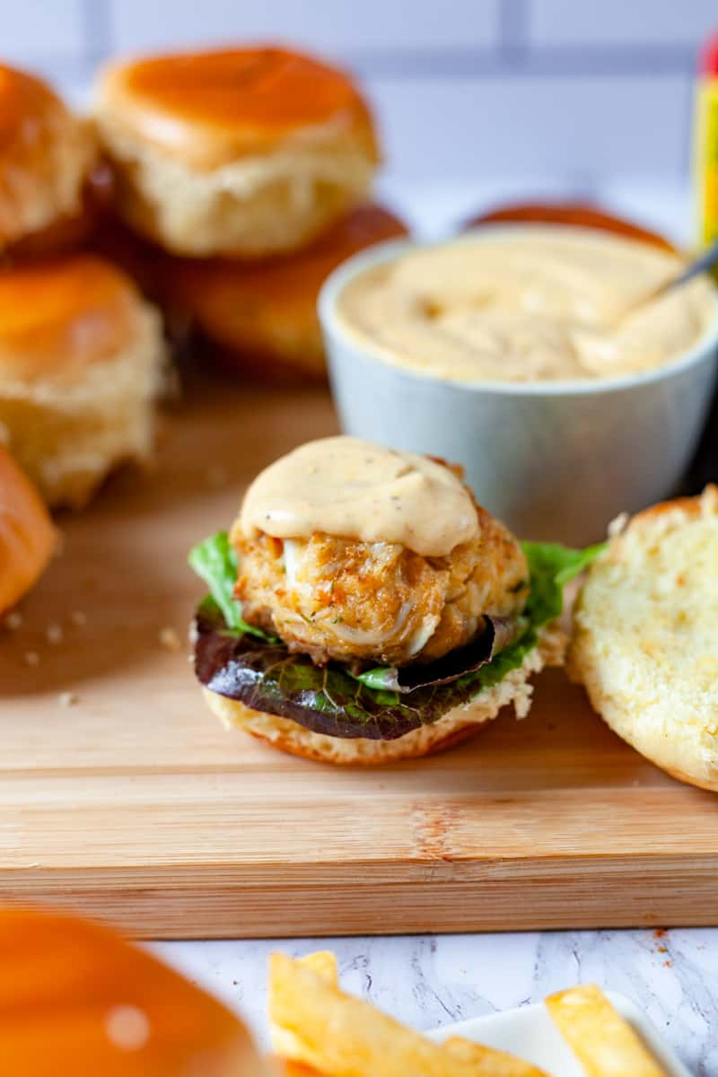 crab cake on a slider bun