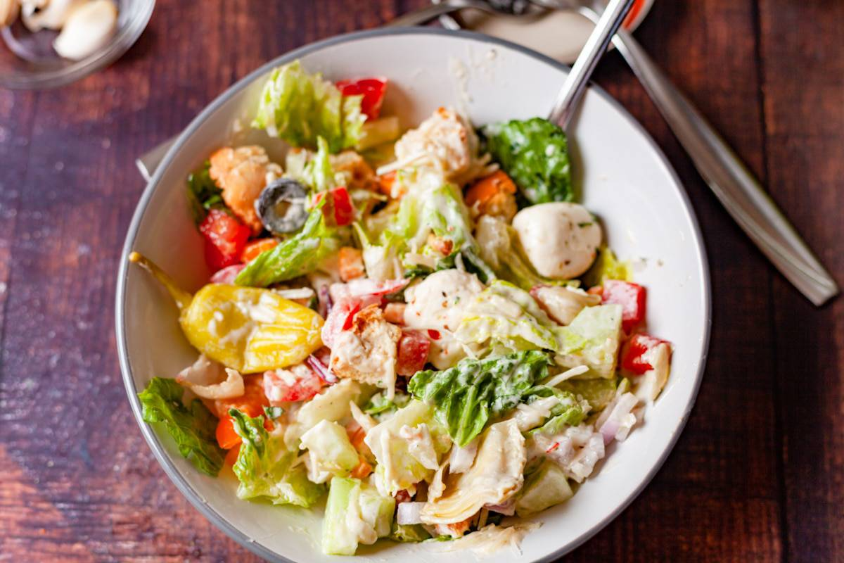 chopped salad tossed with italian dressing