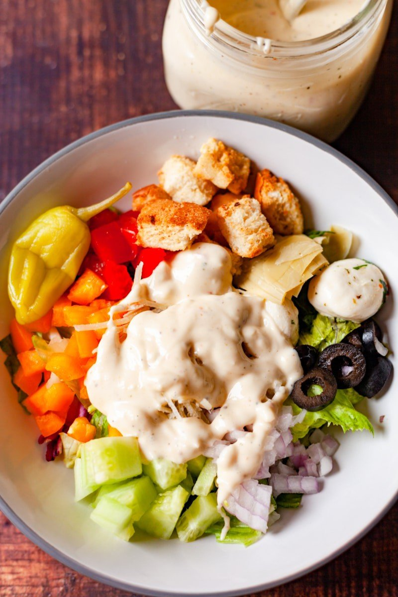 creamy italian dressing on a salad