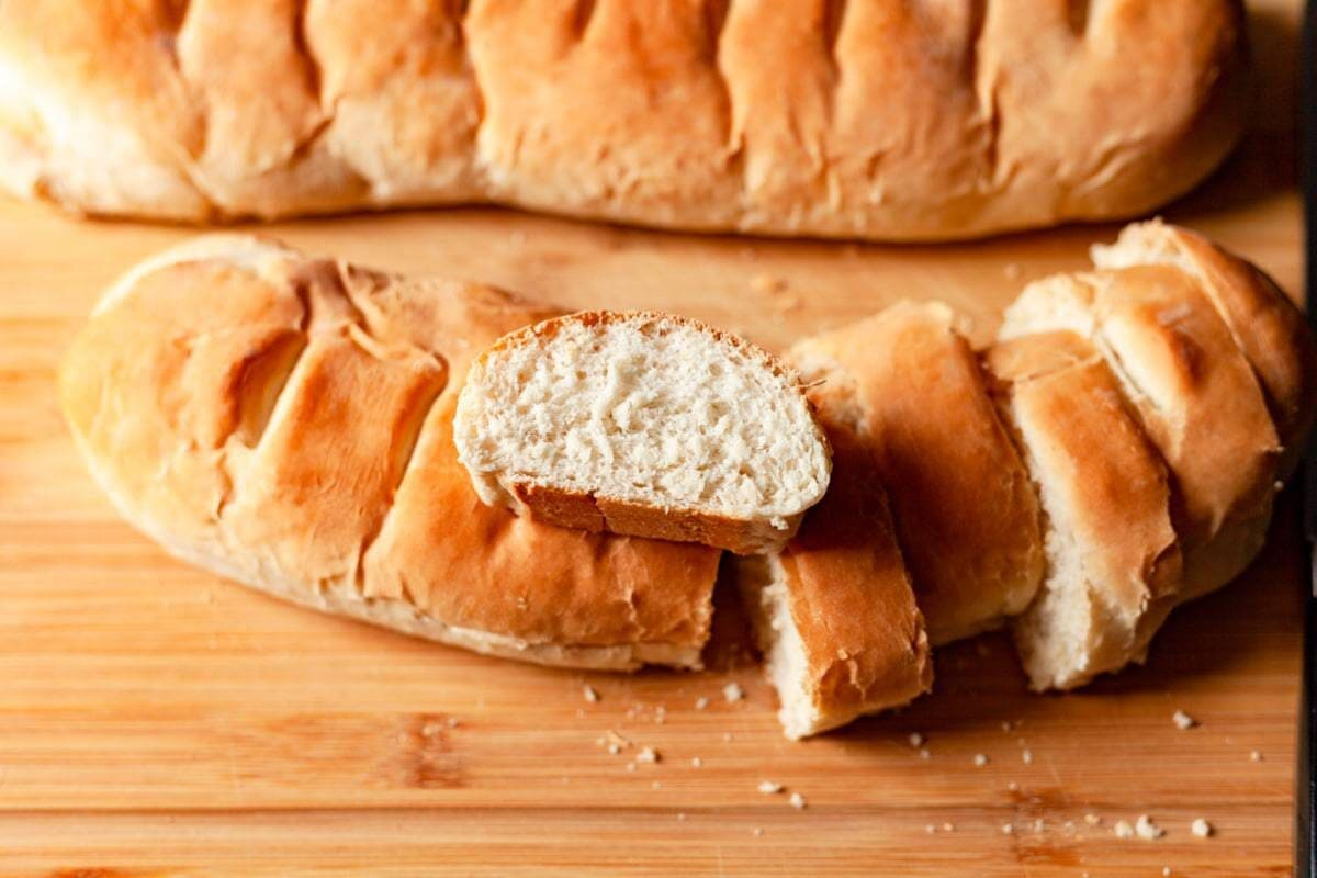 homemade french bread loaf sliced