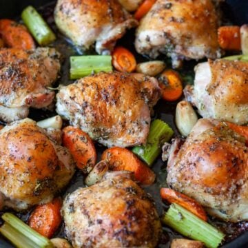 herb-roasted chicken in a pan