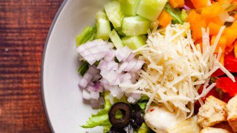 fresh italian chopped salad in a bowl close up