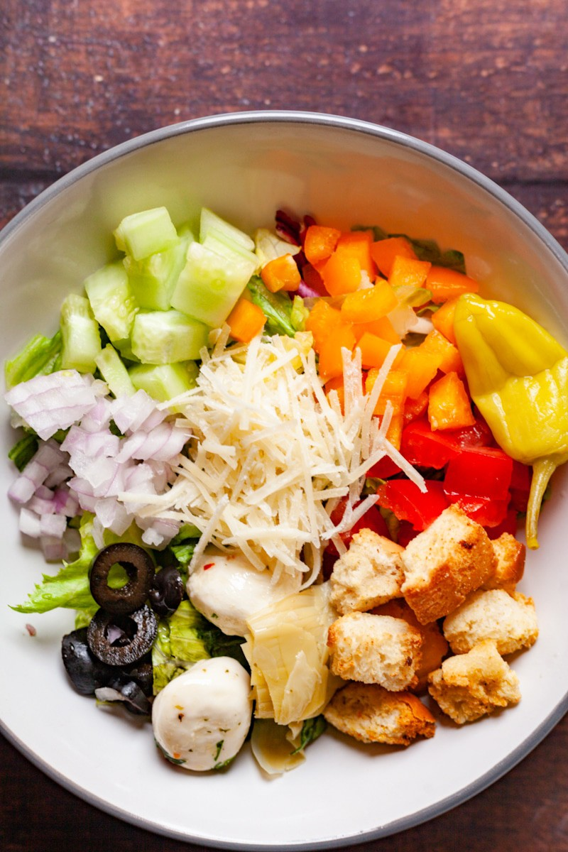 italian chopped salad in a bowl close up