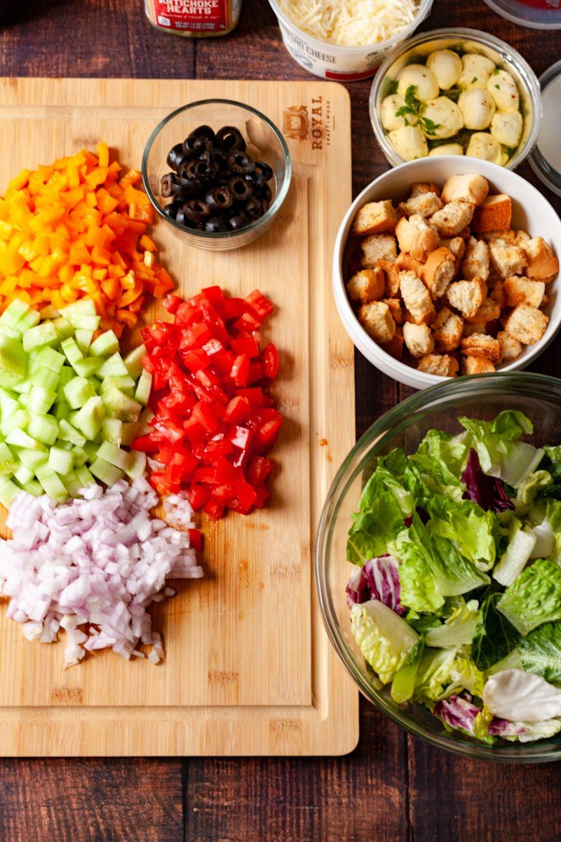 build your own chopped salad bar vegetables