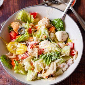 italian chopped salad with dressing