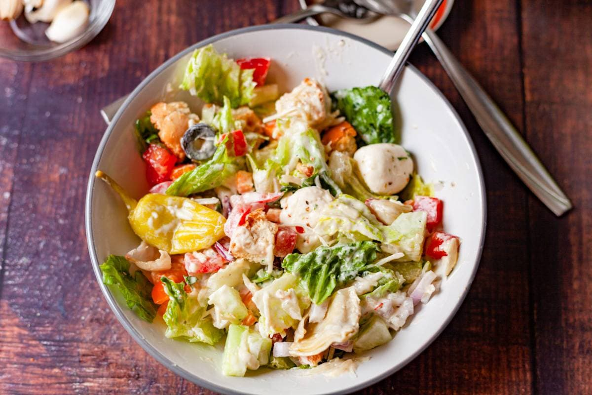 italian chopped salad with dressing