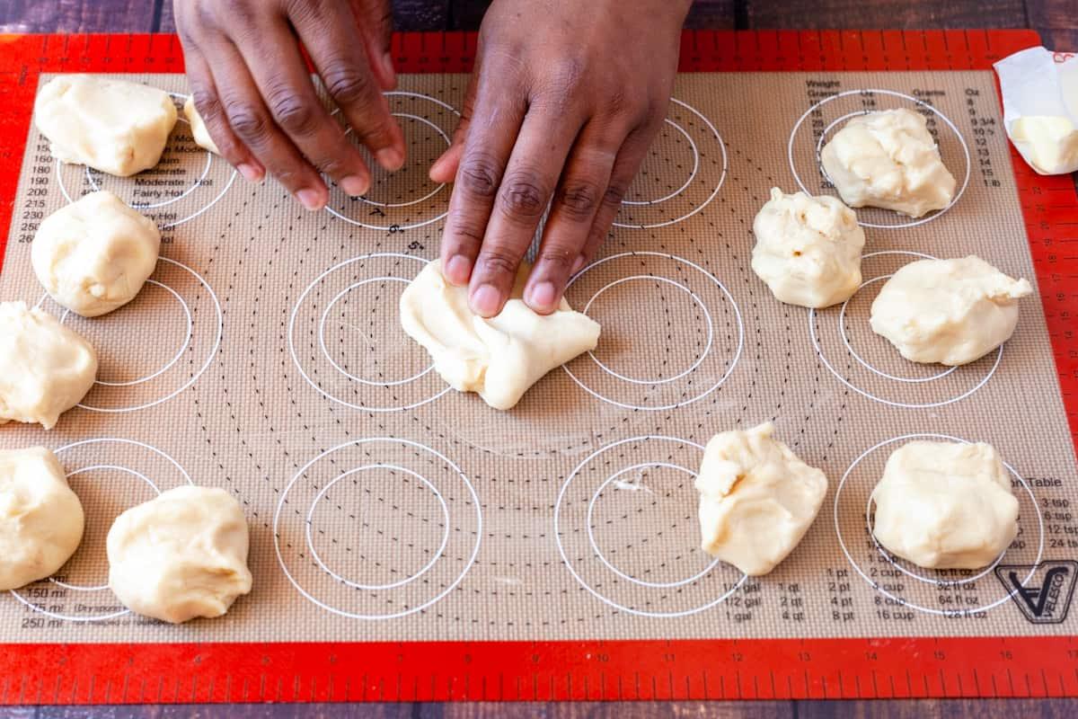 shaping sweet roll dough