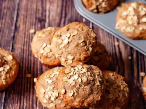 apple oat muffins close up