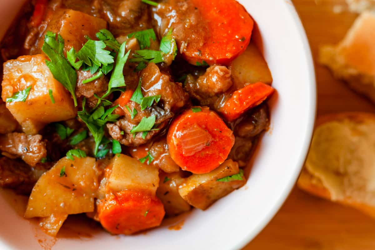 bowl of hearty beef stew close up
