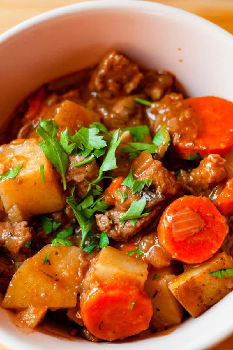 bowl of hearty beef stew vertical
