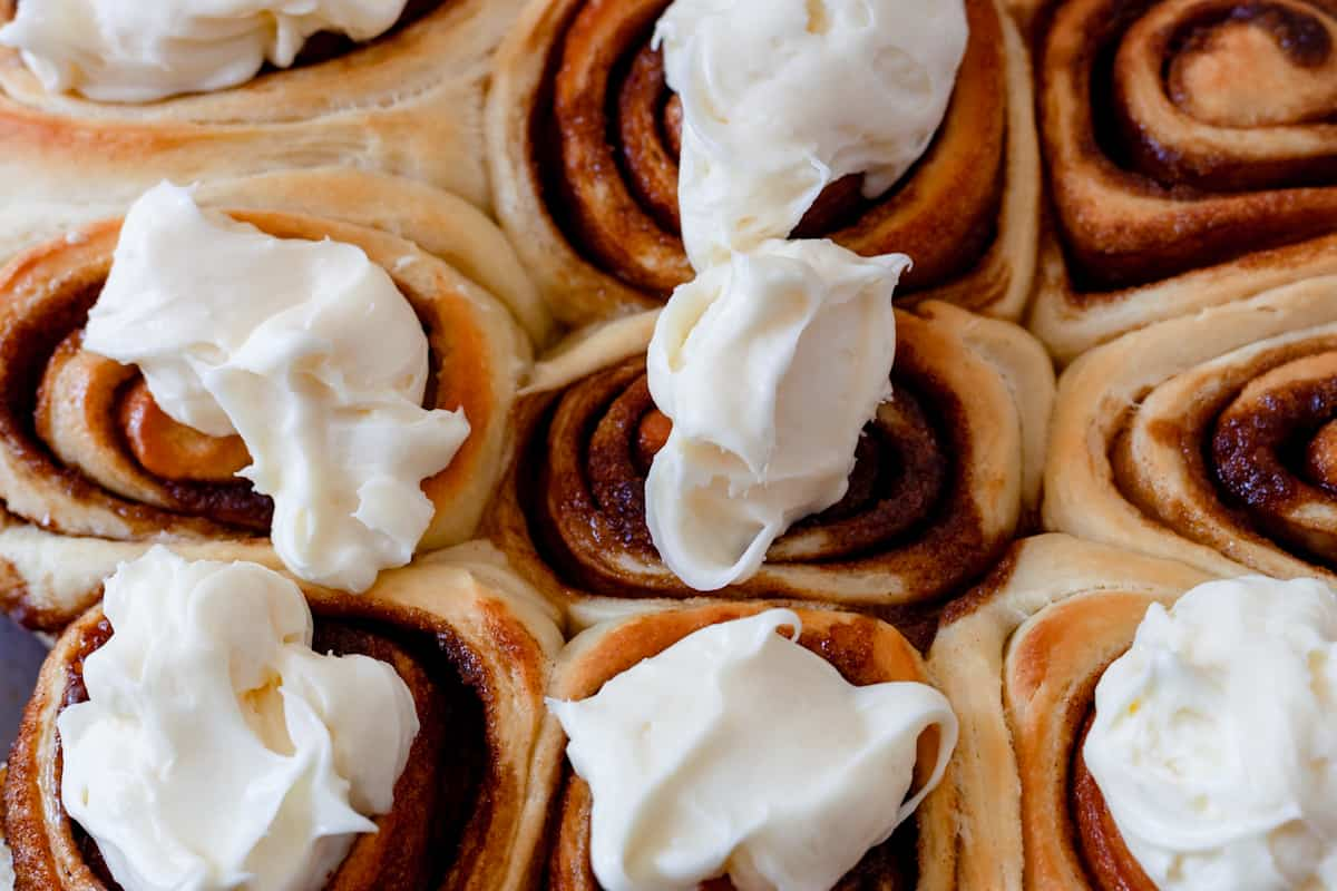 cream cheese icing on cinnamon rolls