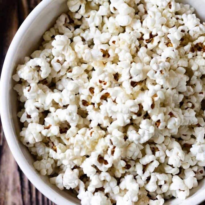 stovetop popcorn overhead