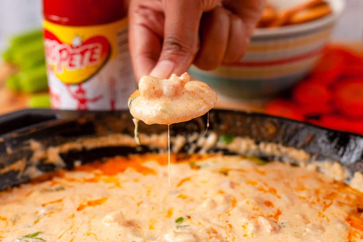 hot shrimp dip on a cracker