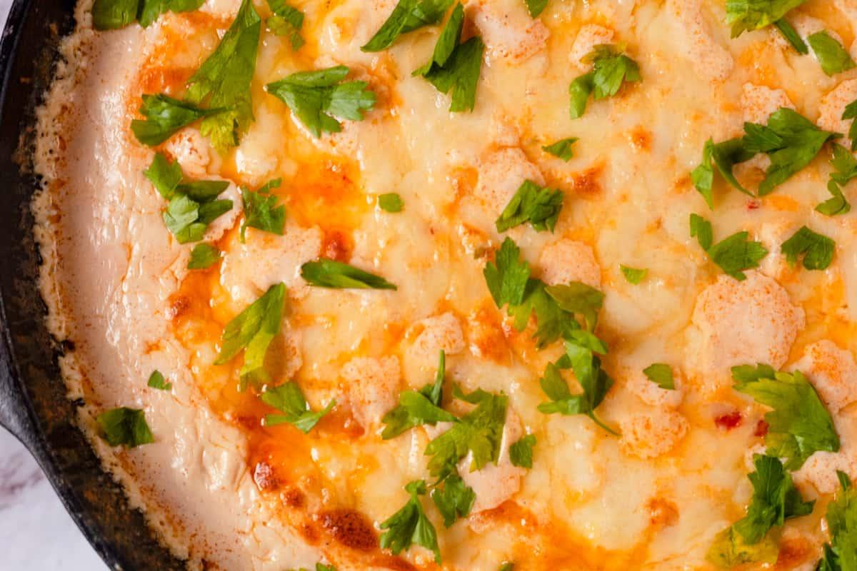 closeup of hot shrimp dip
