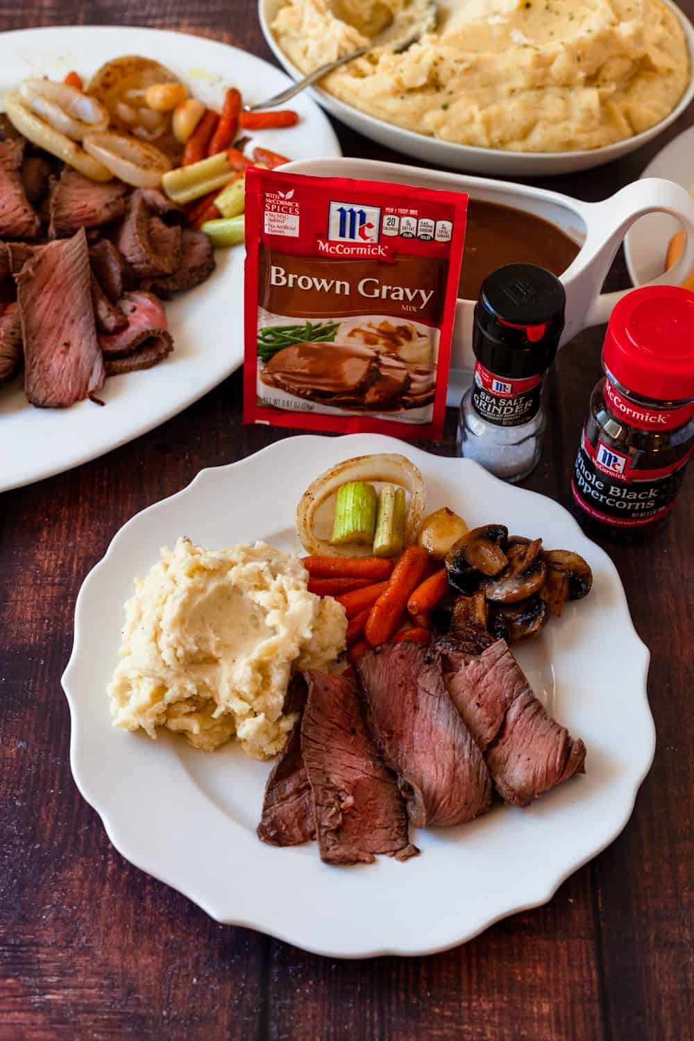 top round london broil with mashed potatoes on a plate