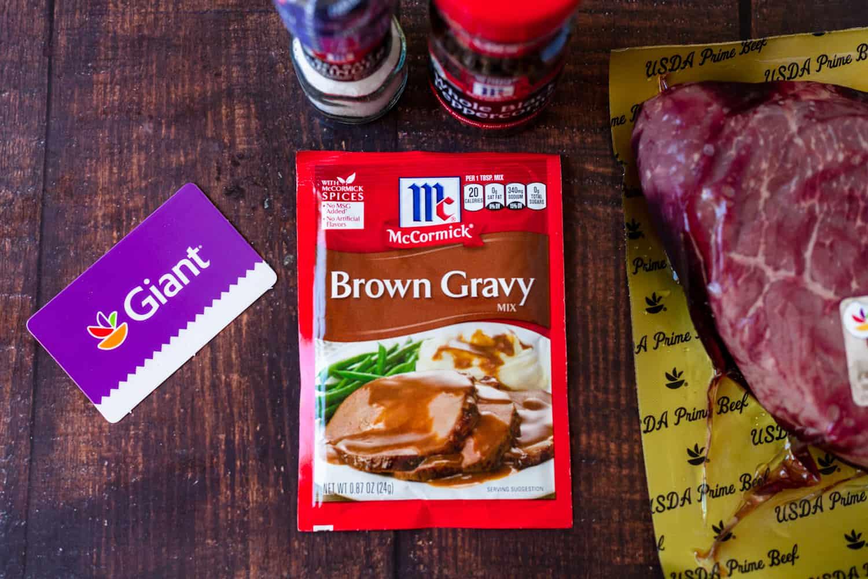 mccormick brown gravy next to a london broil roast