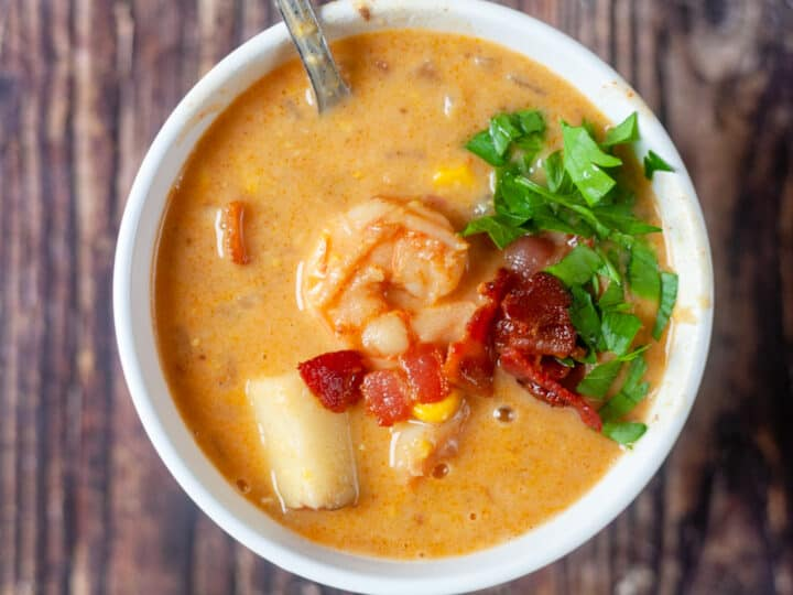 a bowl of bacon shrimp corn chowder