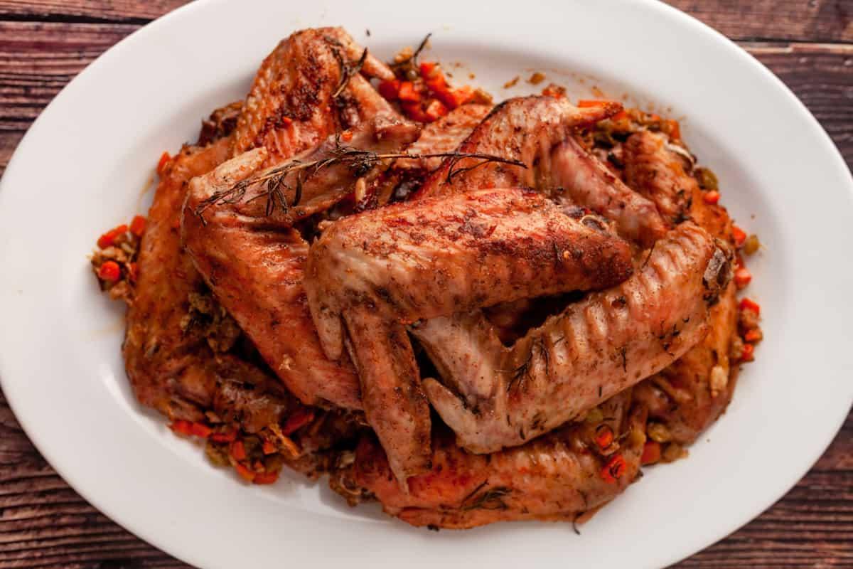 platter of baked turkey wings