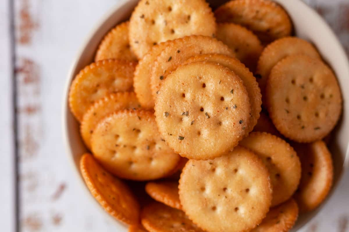 ranch seasoned crackers in a bowl