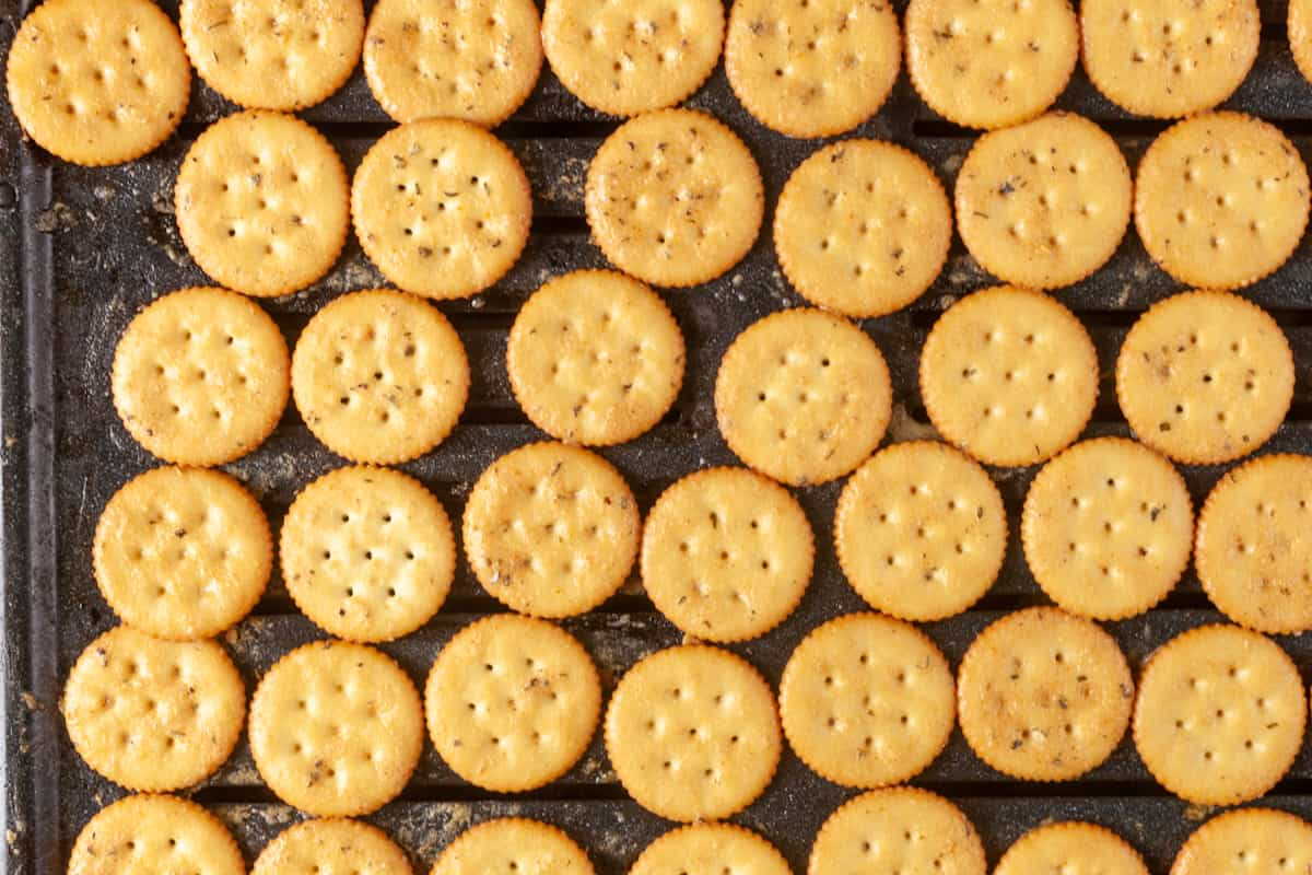 seasoned crackers on a baking rack