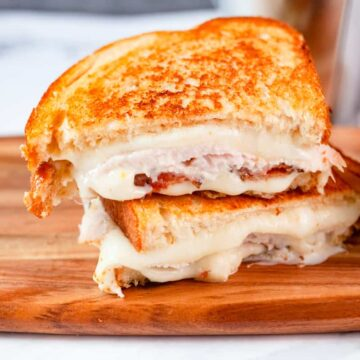 turkey grilled cheese cut and stacked