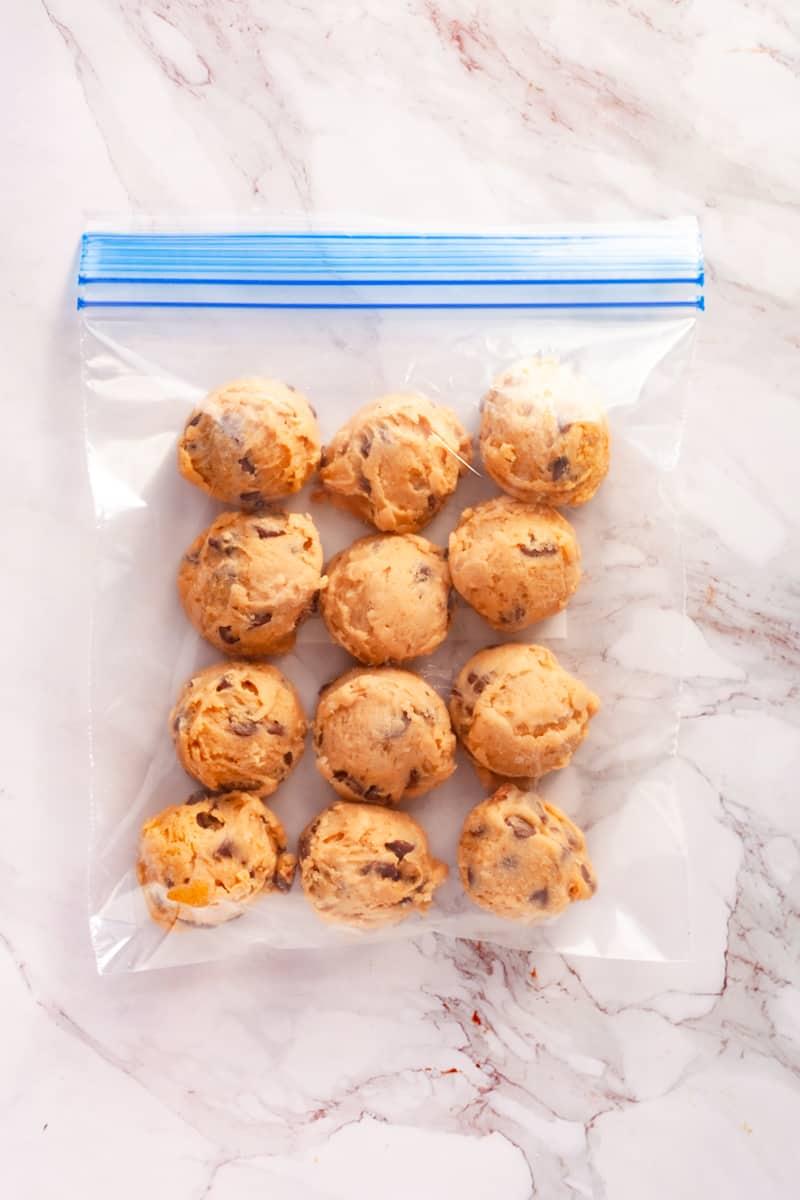 frozen cookie dough in a freezer bag