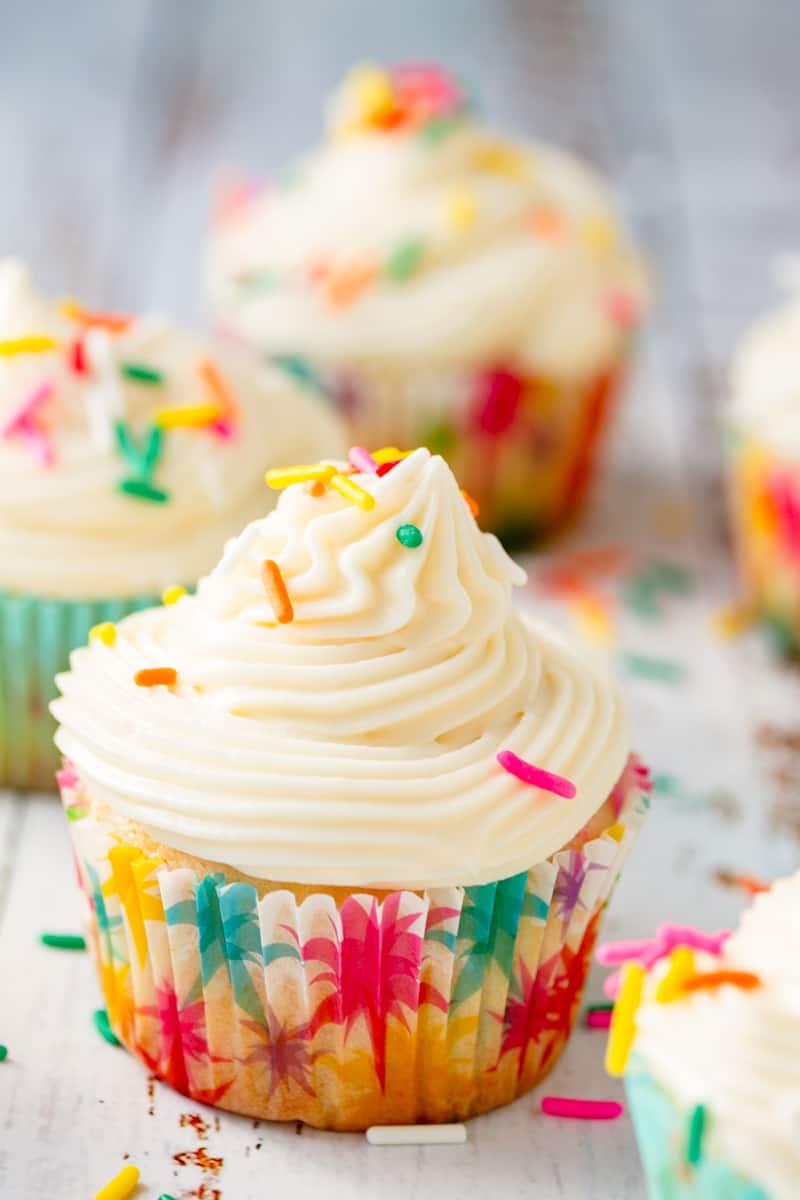 funfetti cupcake topped with buttercream