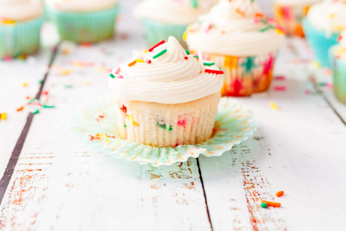 funfetti cupcake topped with frosting