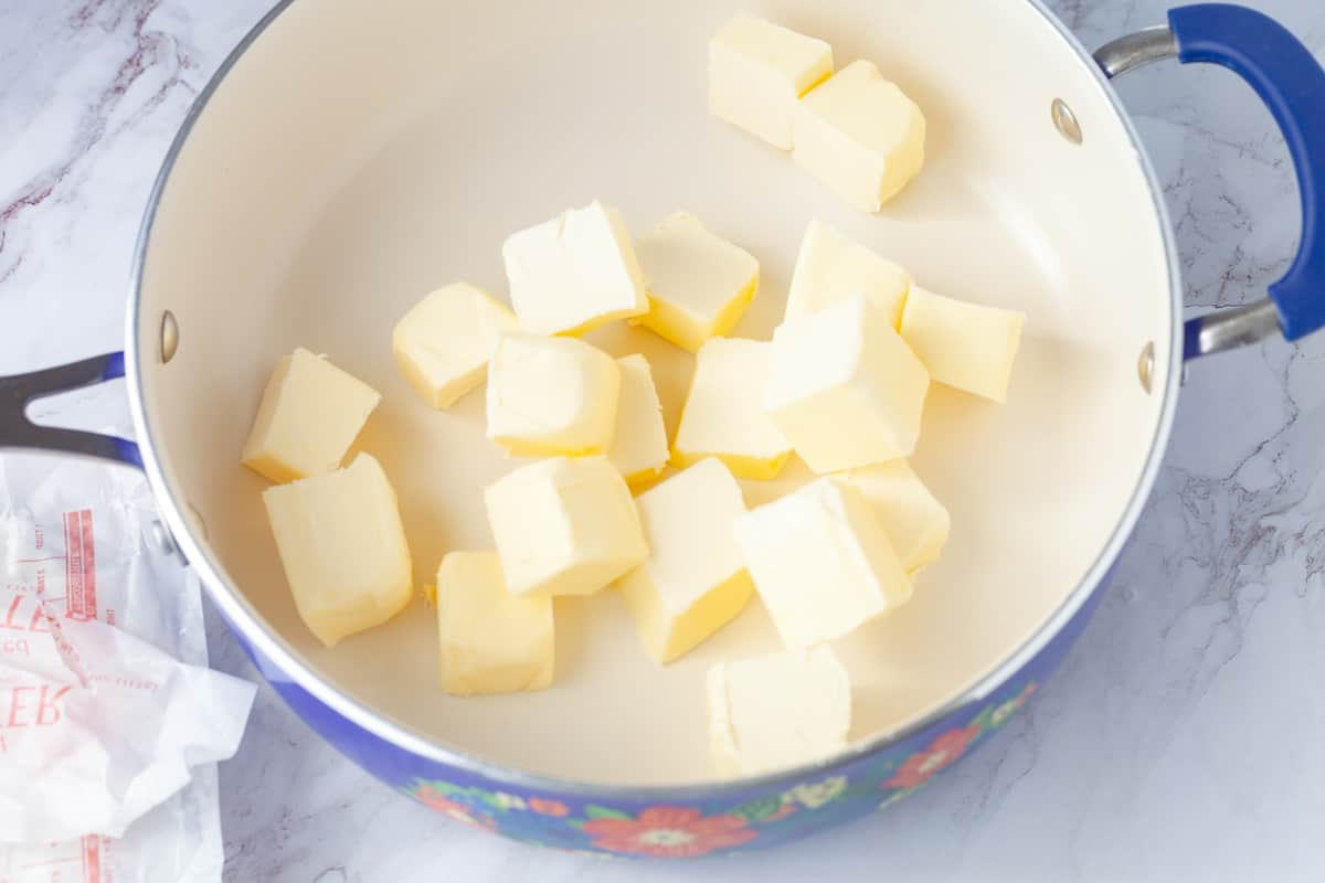 butter chunks in a skillet