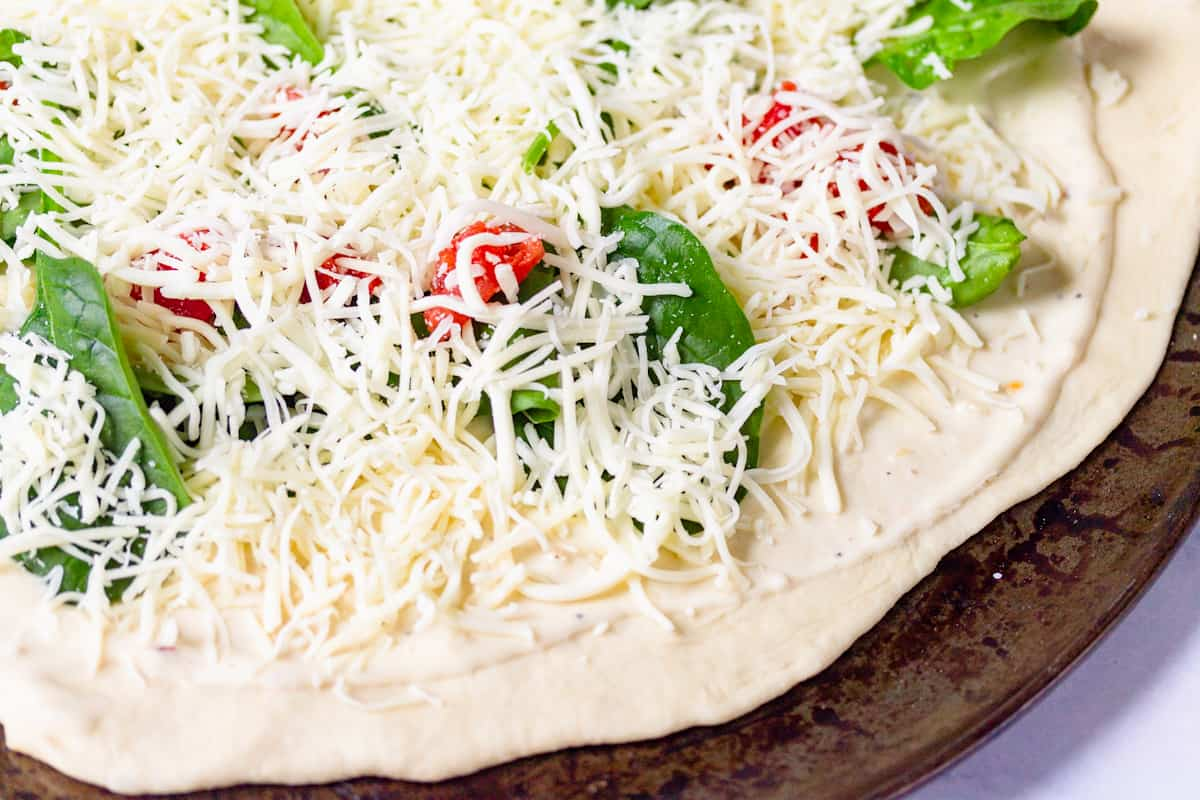 spinach and tomatoes covered with mozzarella cheese