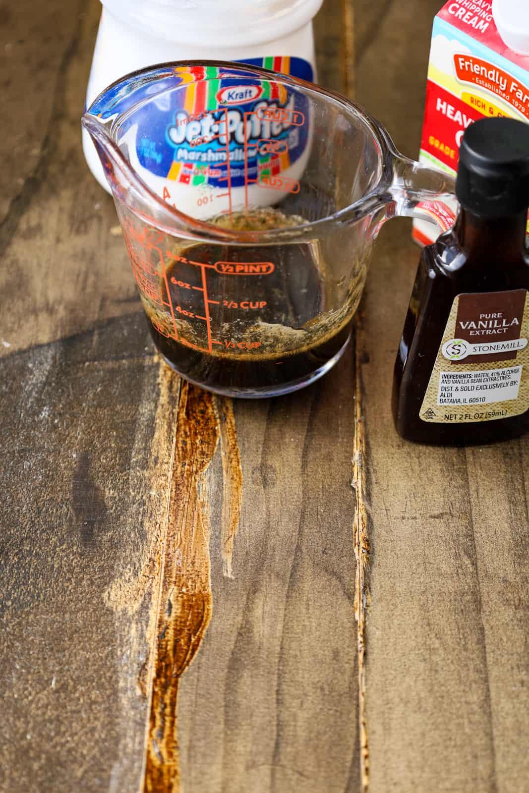 brown sugar syrup, marshmallow fluff, cream, vanilla